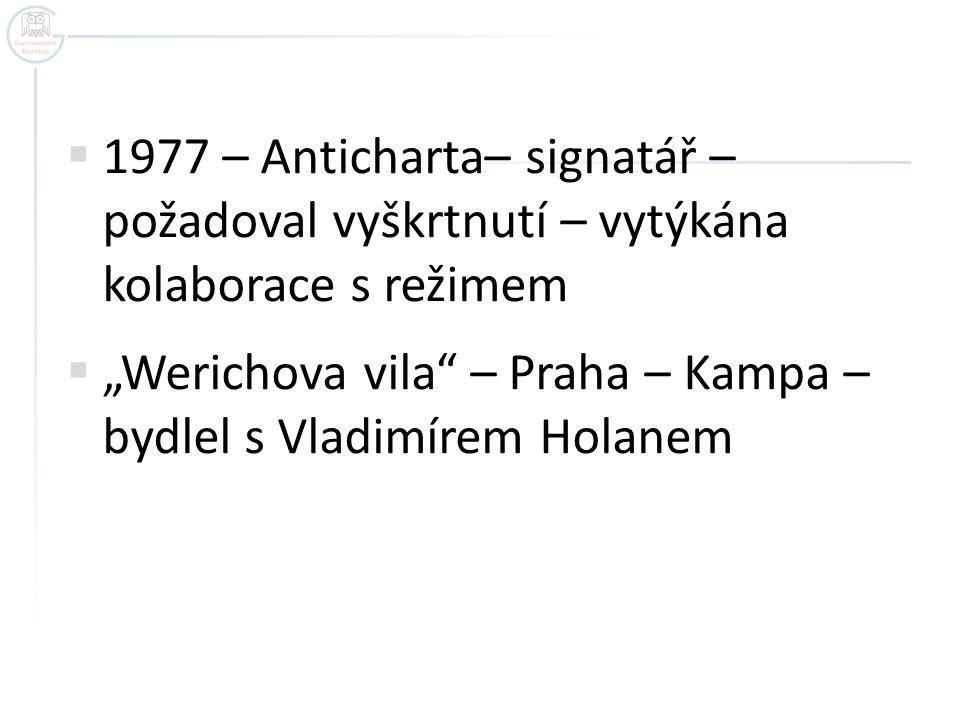 1977 – Anticharta– signatář – požadoval vyškrtnutí – vytýkána kolaborace s režimem