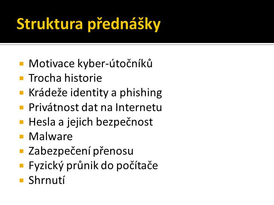 Struktura přednášky Motivace kyber-útočníků Trocha historie