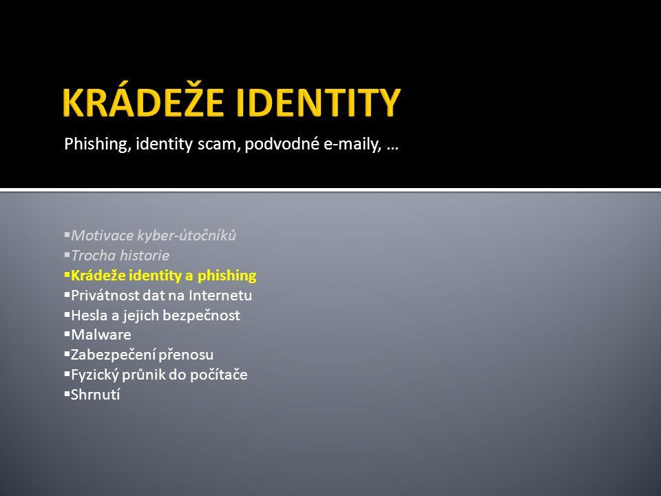 KRÁDEŽE IDENTITY Phishing, identity scam, podvodné e-maily, …