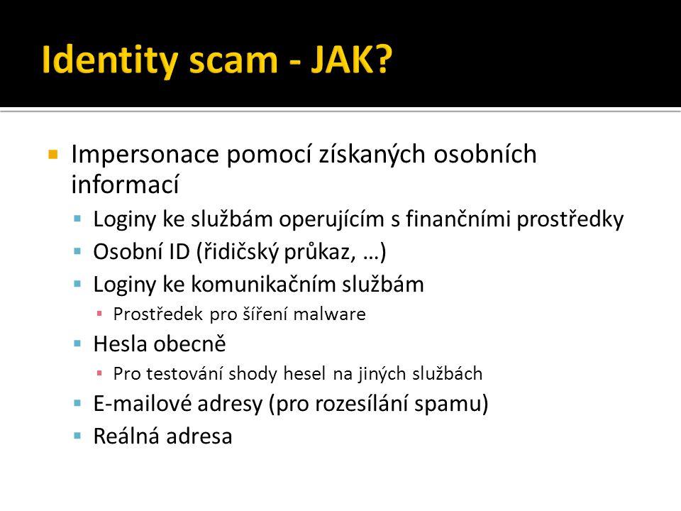 Identity scam - JAK Impersonace pomocí získaných osobních informací
