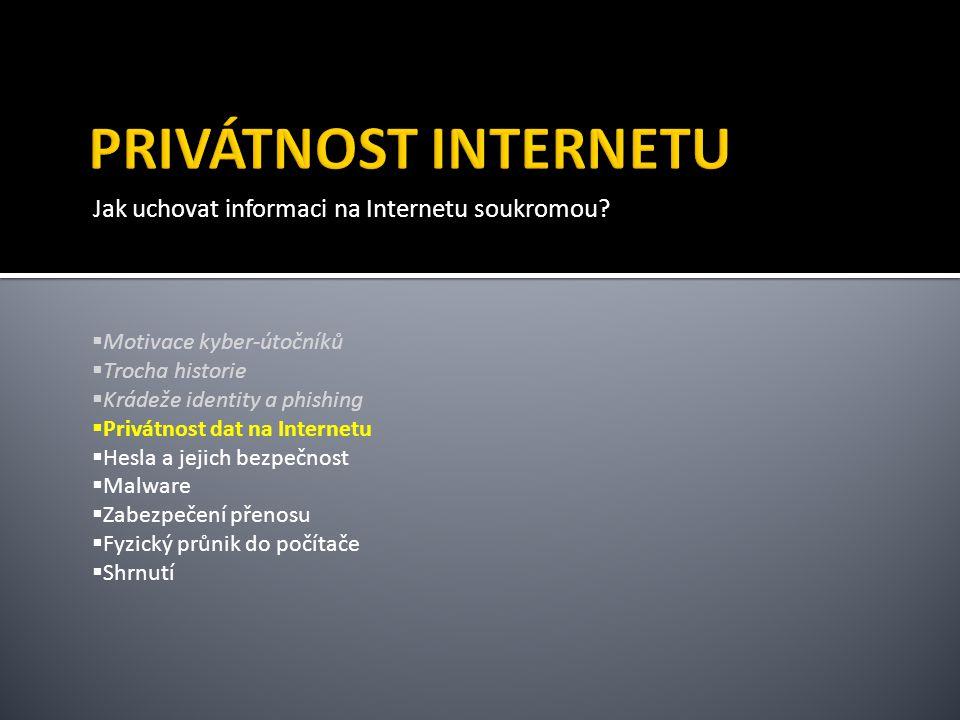 PRIVÁTNOST INTERNETU Jak uchovat informaci na Internetu soukromou