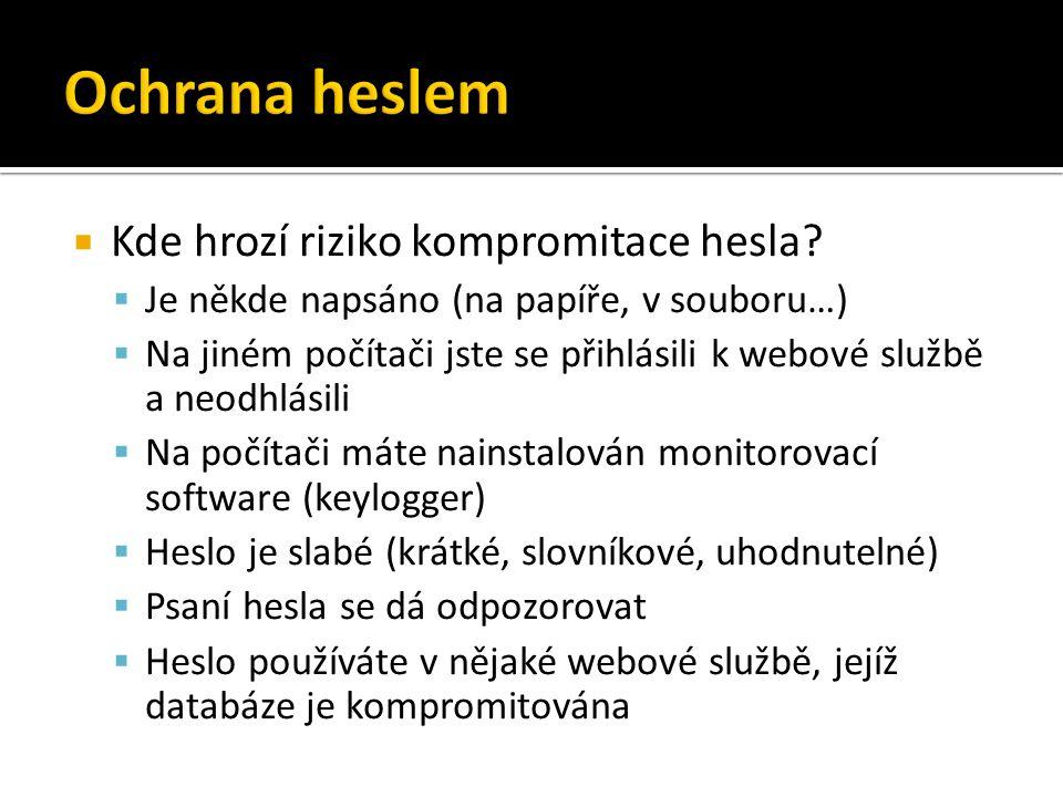 Ochrana heslem Kde hrozí riziko kompromitace hesla
