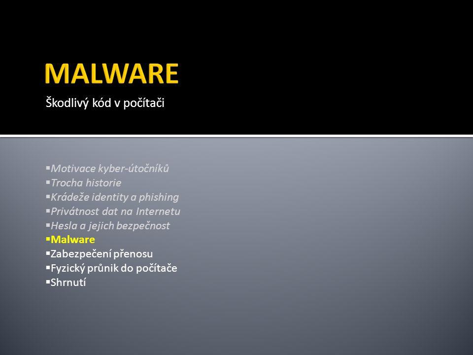 MALWARE Škodlivý kód v počítači Motivace kyber-útočníků