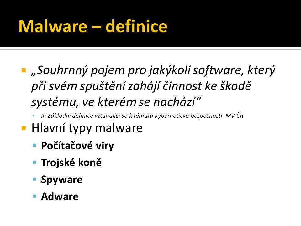 """Malware – definice """"Souhrnný pojem pro jakýkoli software, který při svém spuštění zahájí činnost ke škodě systému, ve kterém se nachází"""