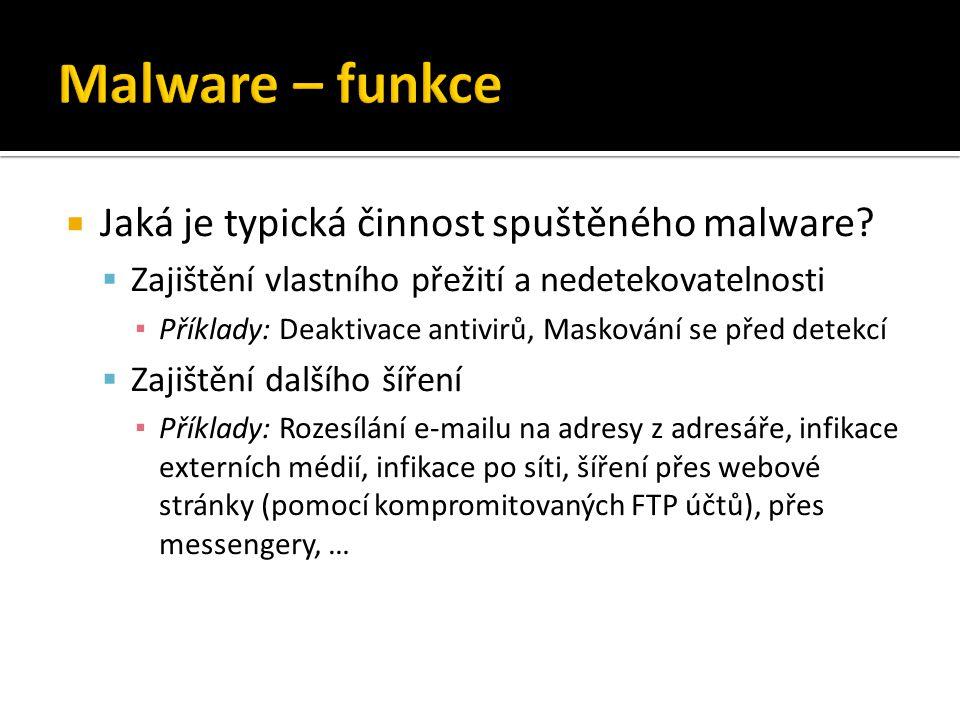 Malware – funkce Jaká je typická činnost spuštěného malware