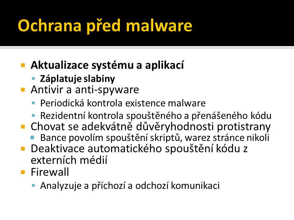 Ochrana před malware Aktualizace systému a aplikací
