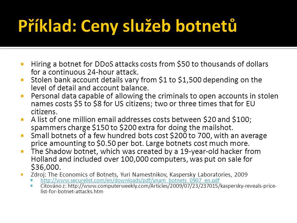Příklad: Ceny služeb botnetů