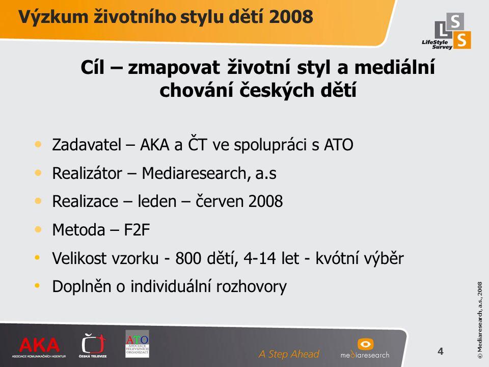 Cíl – zmapovat životní styl a mediální chování českých dětí