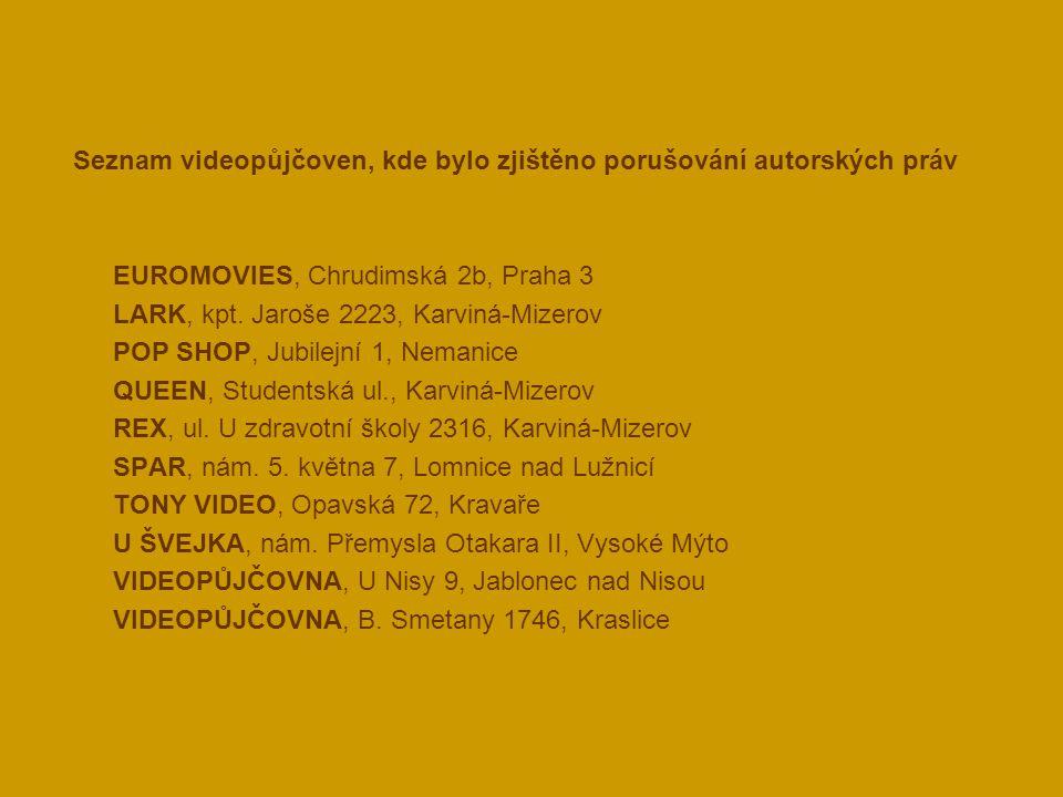 Seznam videopůjčoven, kde bylo zjištěno porušování autorských práv