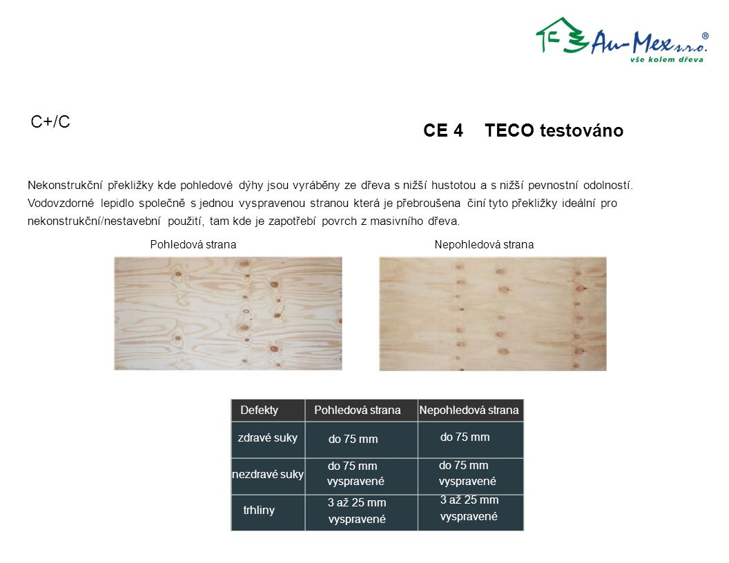 C+/C CE 4 TECO testováno Defekty zdravé suky trhliny do 75 mm