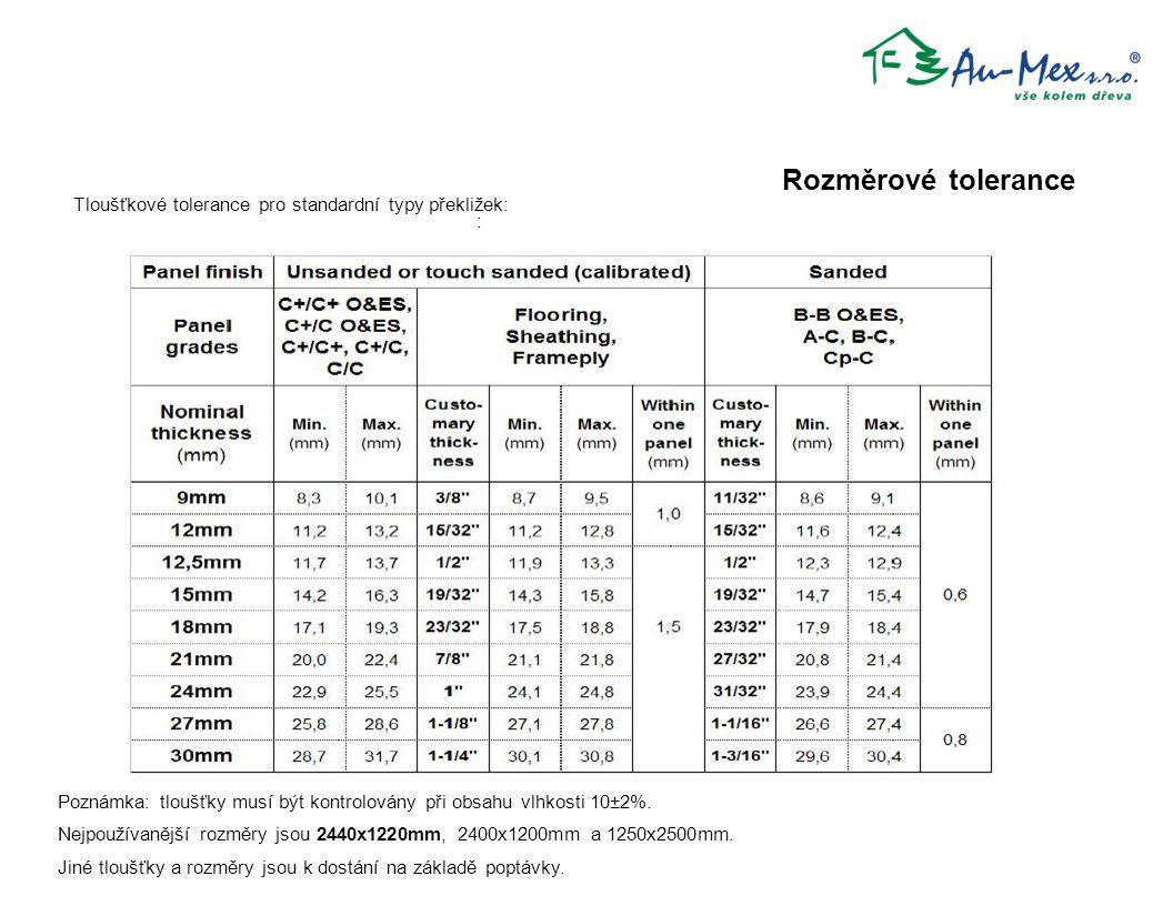 Rozměrové tolerance Tloušťkové tolerance pro standardní typy překližek: : Poznámka: tloušťky musí být kontrolovány při obsahu vlhkosti 10±2%.