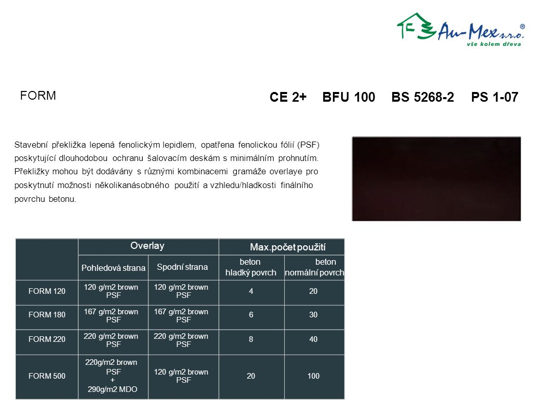 CE 2+ BFU 100 BS 5268-2 PS 1-07 FORM beton beton PSF PSF + PSF Overlay