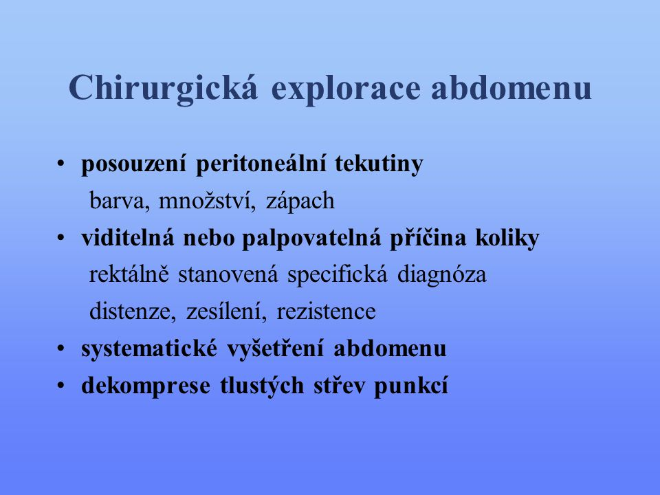 Chirurgická explorace abdomenu