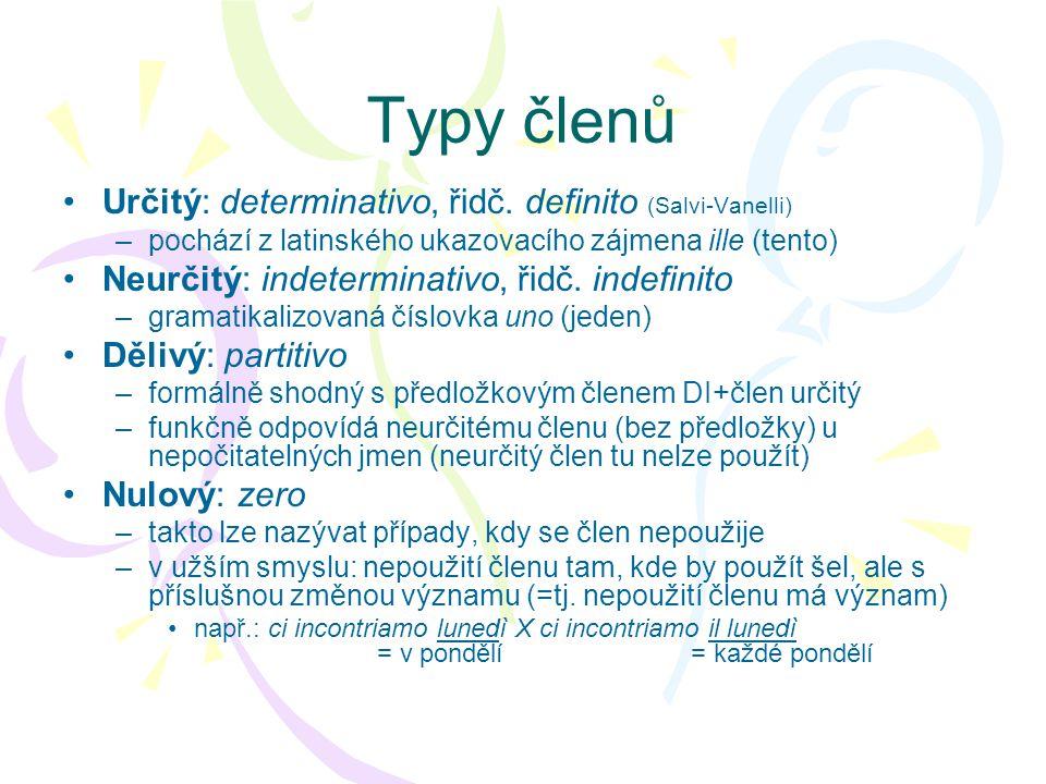 Typy členů Určitý: determinativo, řidč. definito (Salvi-Vanelli)