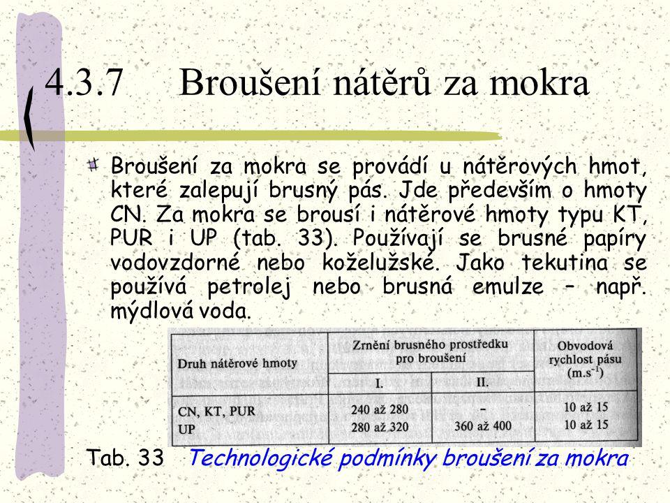 4.3.7 Broušení nátěrů za mokra