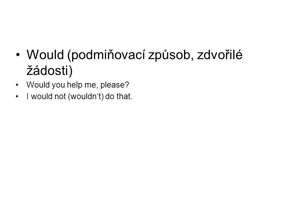 Would (podmiňovací způsob, zdvořilé žádosti)