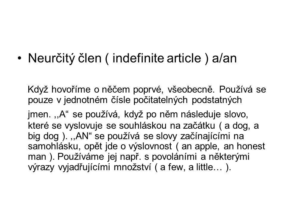 Neurčitý člen ( indefinite article ) a/an