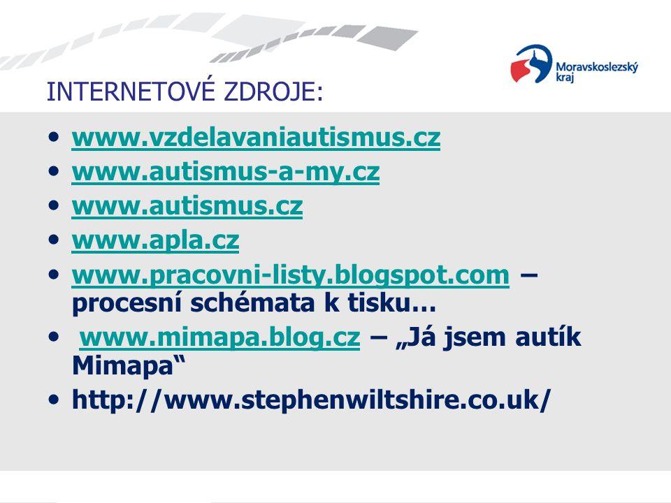 INTERNETOVÉ ZDROJE: www.vzdelavaniautismus.cz. www.autismus-a-my.cz. www.autismus.cz. www.apla.cz.