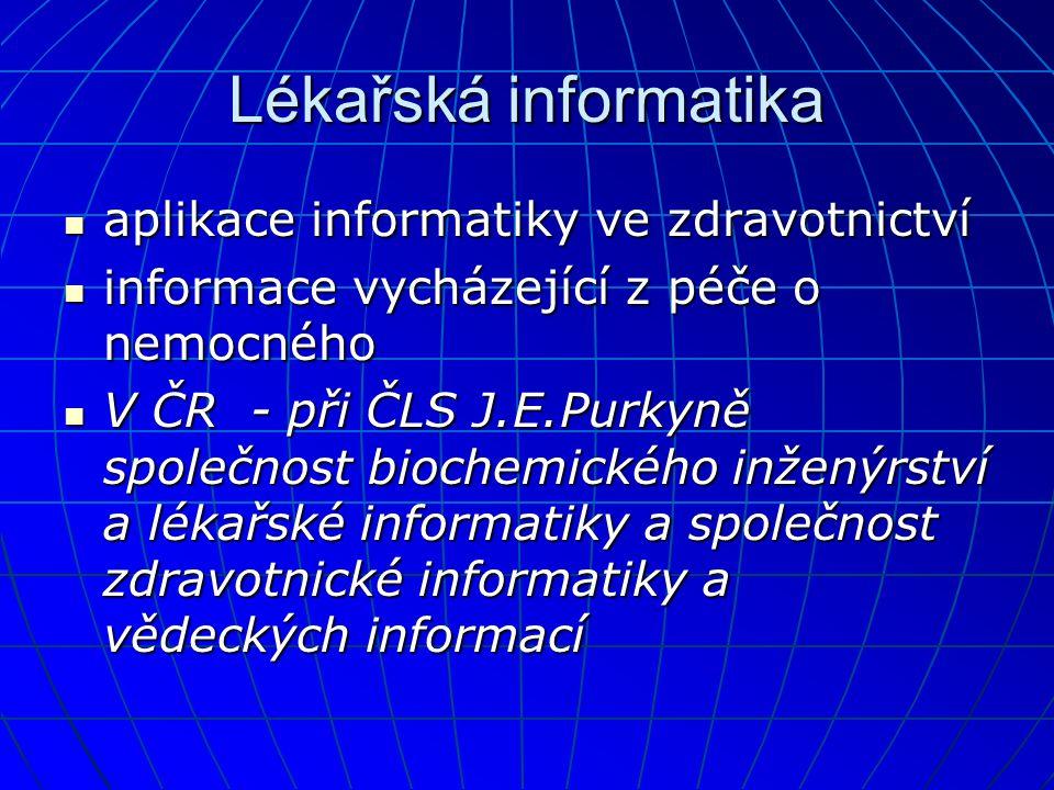 Lékařská informatika aplikace informatiky ve zdravotnictví