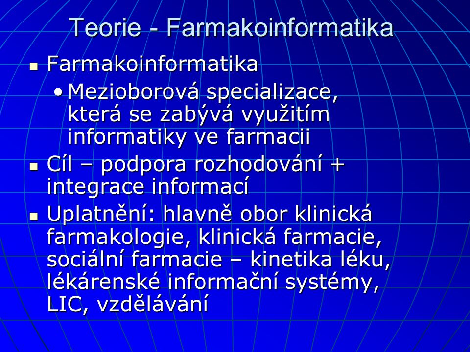 Teorie - Farmakoinformatika