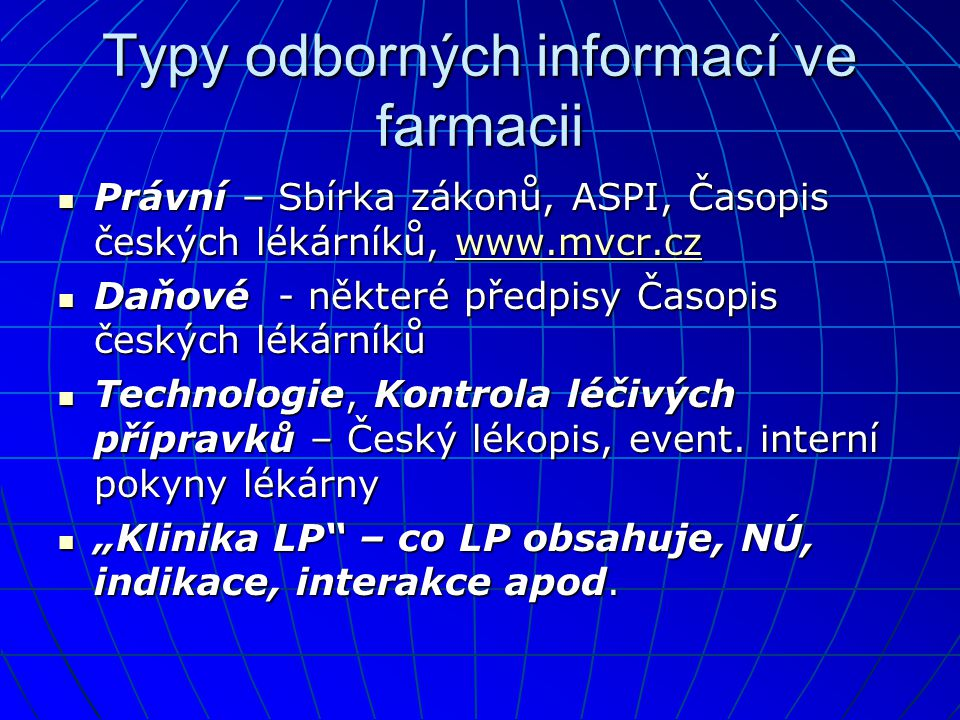 Typy odborných informací ve farmacii