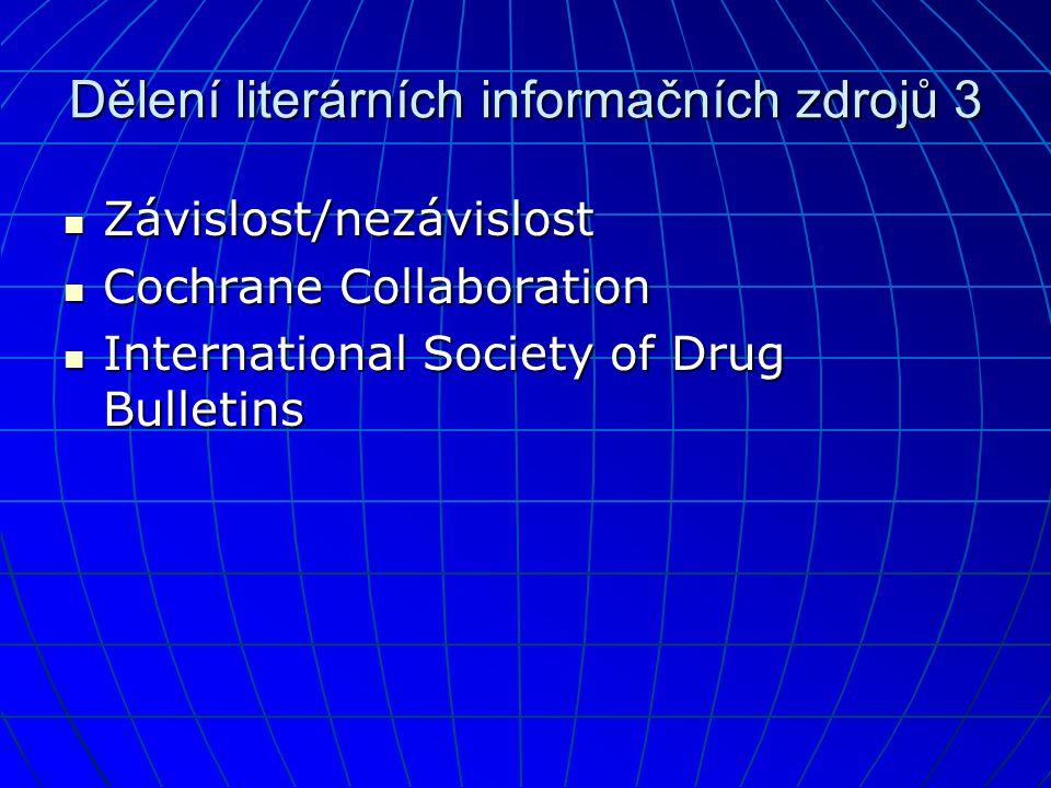 Dělení literárních informačních zdrojů 3
