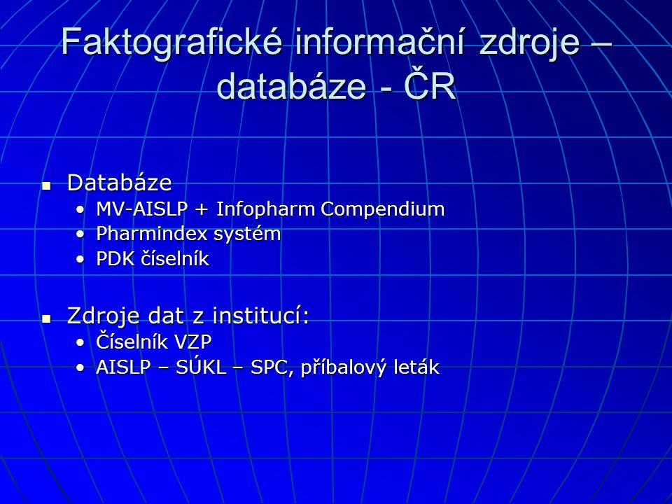 Faktografické informační zdroje – databáze - ČR