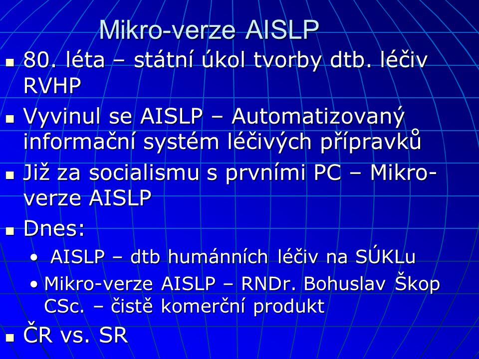Mikro-verze AISLP 80. léta – státní úkol tvorby dtb. léčiv RVHP