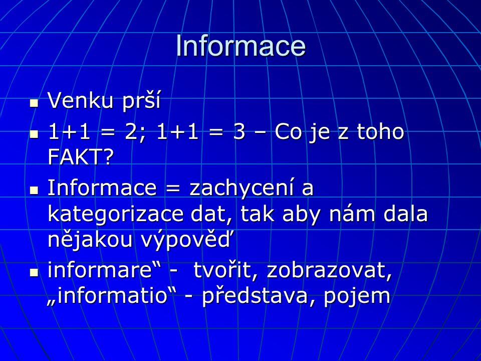 Informace Venku prší 1+1 = 2; 1+1 = 3 – Co je z toho FAKT