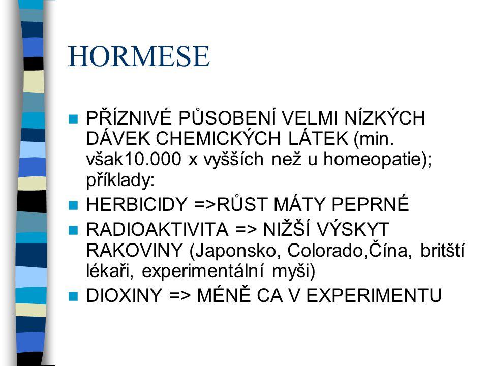 HORMESE PŘÍZNIVÉ PŮSOBENÍ VELMI NÍZKÝCH DÁVEK CHEMICKÝCH LÁTEK (min. však10.000 x vyšších než u homeopatie); příklady: