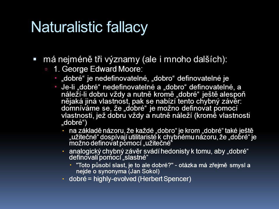 Naturalistic fallacy má nejméně tři významy (ale i mnoho dalších):