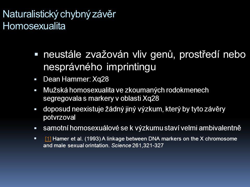 Naturalistický chybný závěr Homosexualita