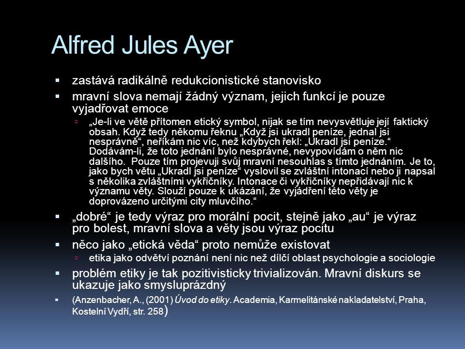 Alfred Jules Ayer zastává radikálně redukcionistické stanovisko