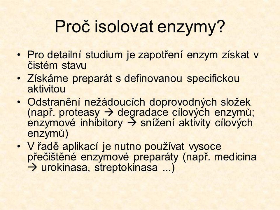 Proč isolovat enzymy Pro detailní studium je zapotření enzym získat v čistém stavu. Získáme preparát s definovanou specifickou aktivitou.