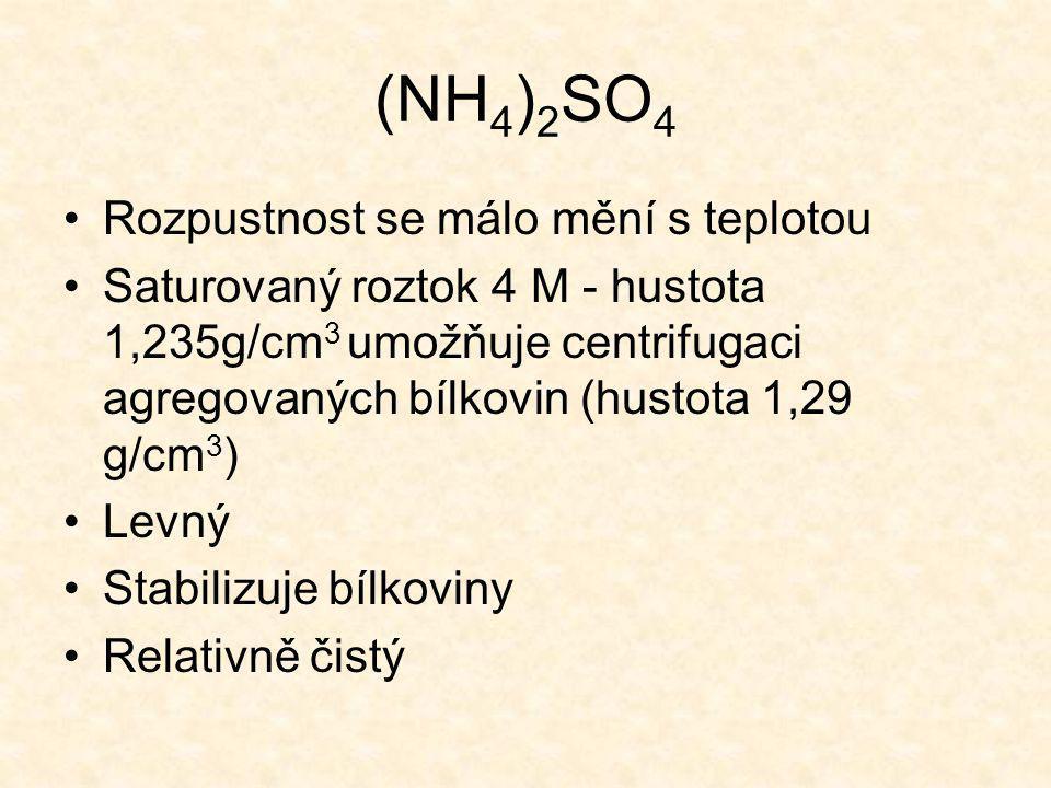 (NH4)2SO4 Rozpustnost se málo mění s teplotou