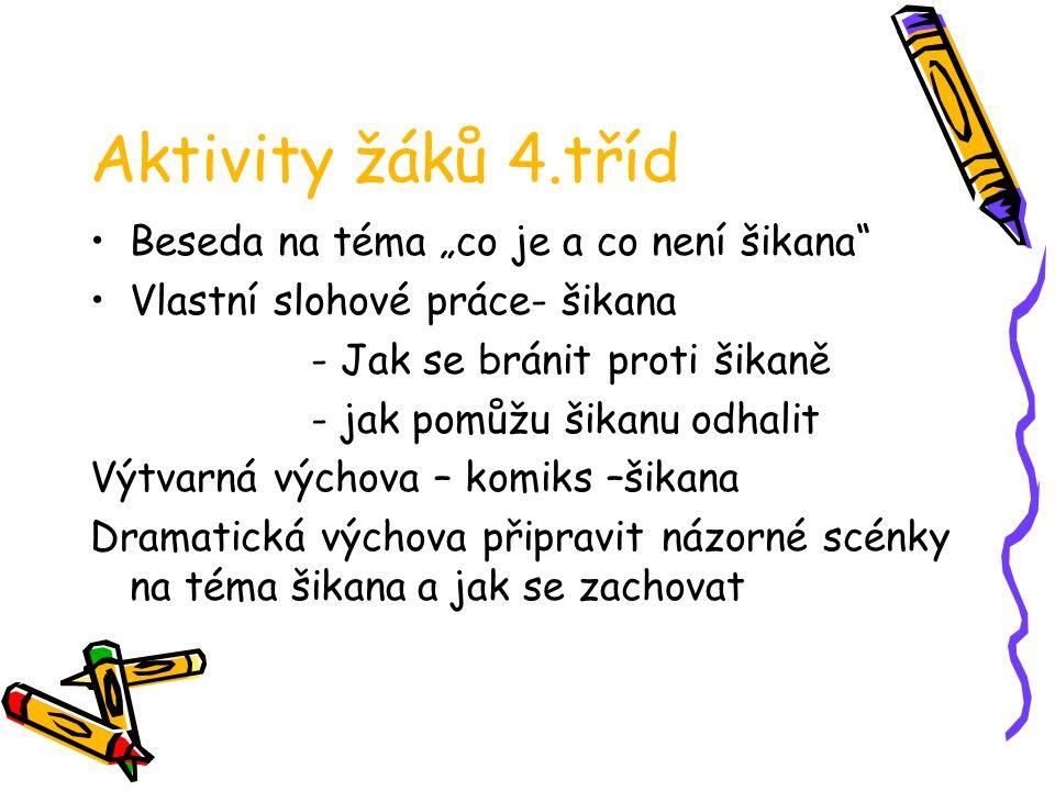 """Aktivity žáků 4.tříd Beseda na téma """"co je a co není šikana"""