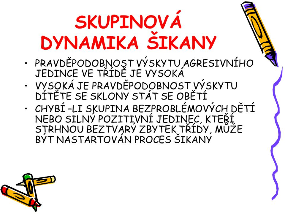 SKUPINOVÁ DYNAMIKA ŠIKANY