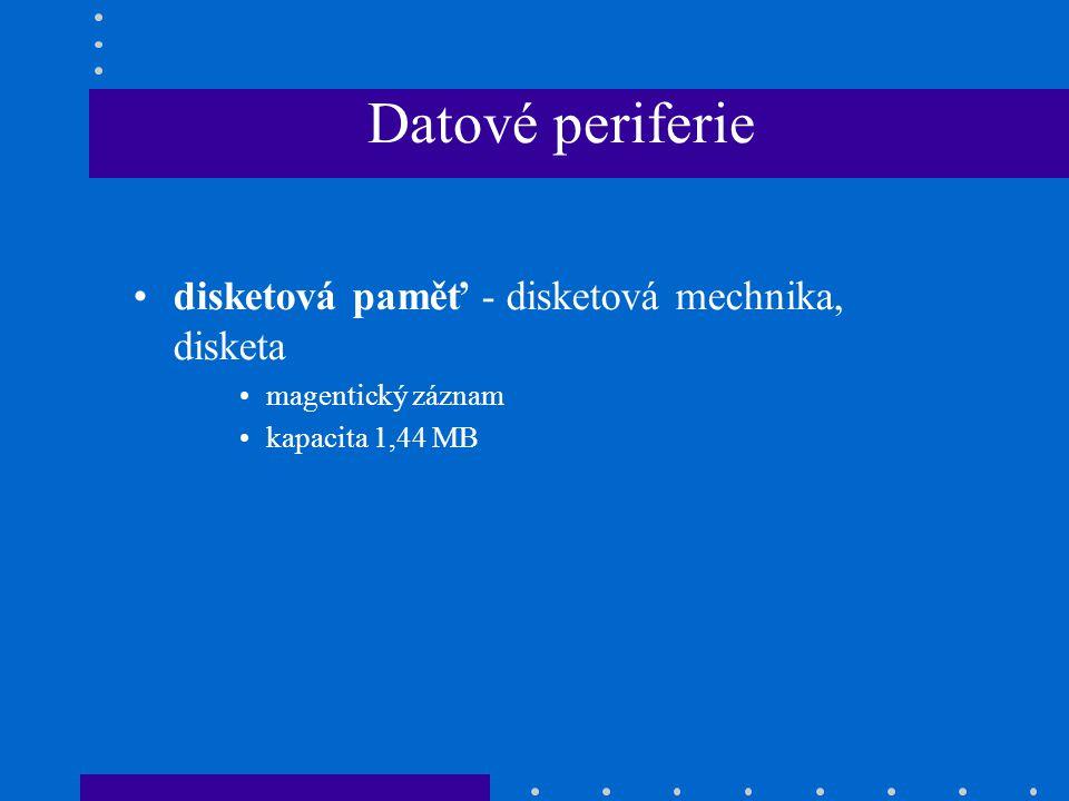 Datové periferie disketová paměť - disketová mechnika, disketa