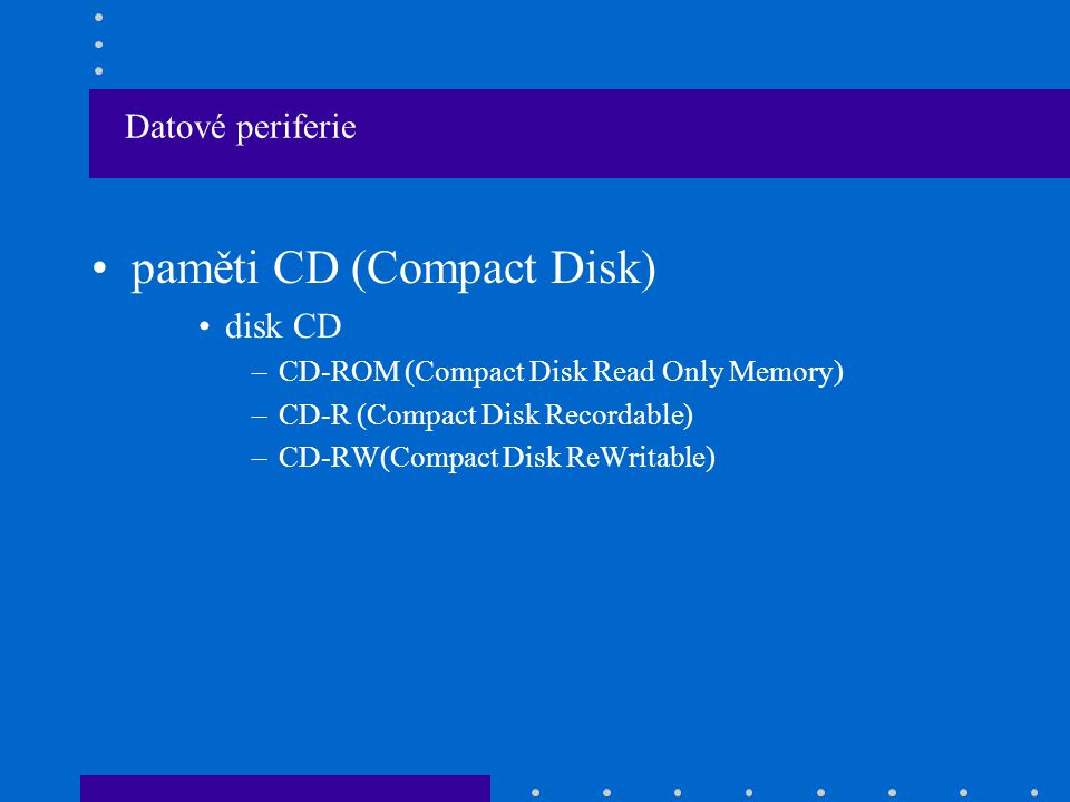 paměti CD (Compact Disk)