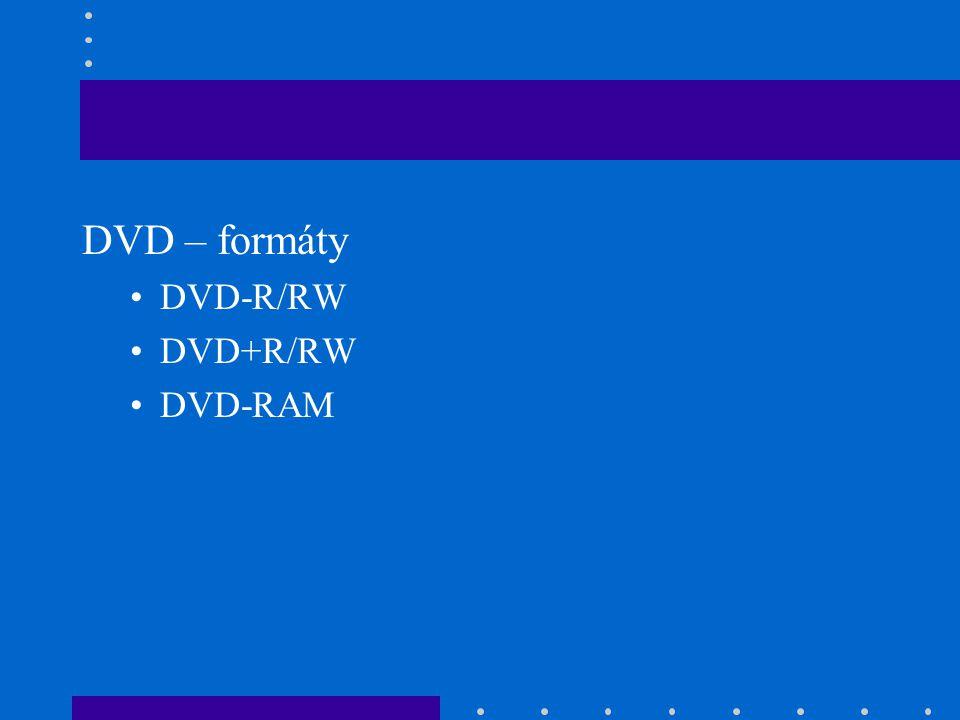 DVD – formáty DVD-R/RW DVD+R/RW DVD-RAM