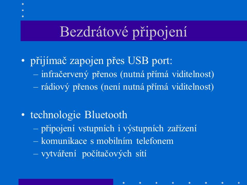 Bezdrátové připojení přijímač zapojen přes USB port:
