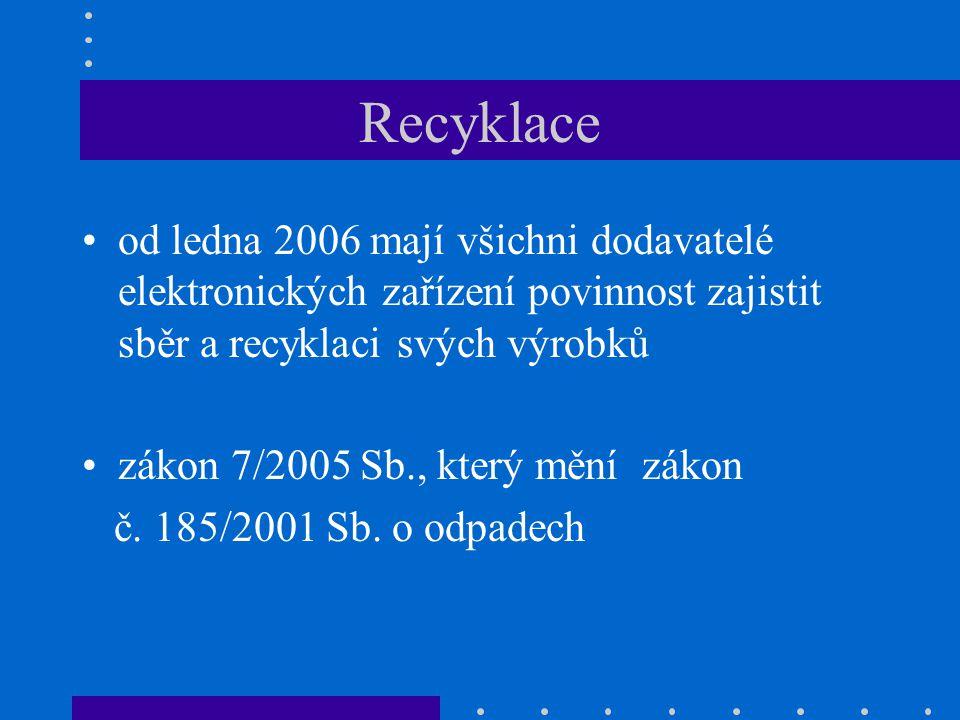 Recyklace od ledna 2006 mají všichni dodavatelé elektronických zařízení povinnost zajistit sběr a recyklaci svých výrobků.