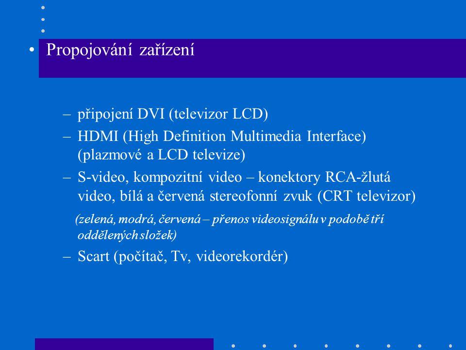 Propojování zařízení připojení DVI (televizor LCD)