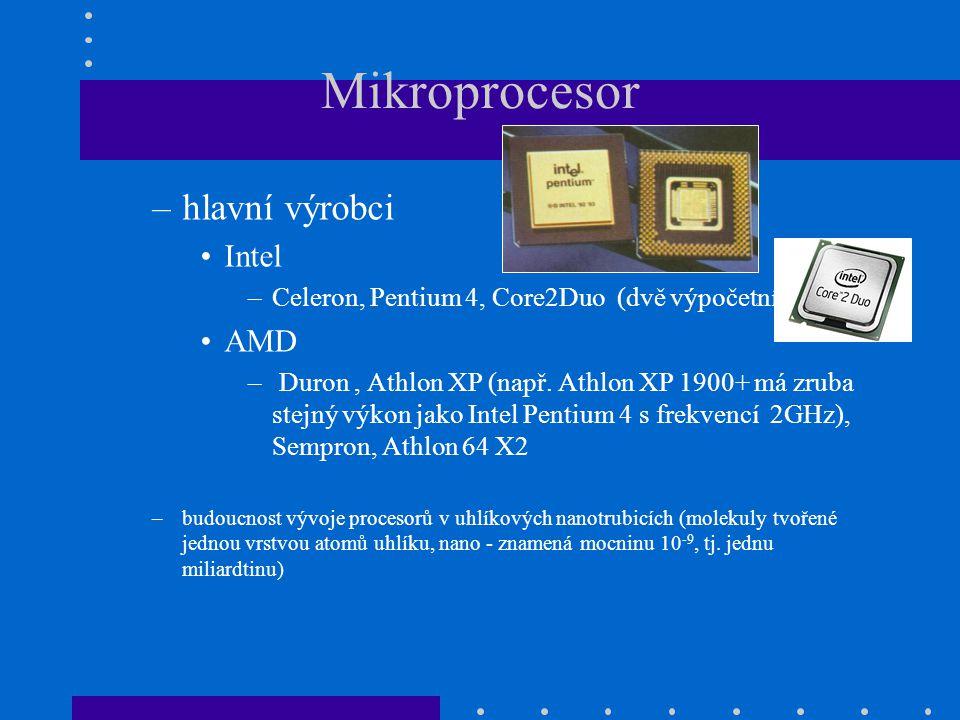 Mikroprocesor hlavní výrobci Intel AMD