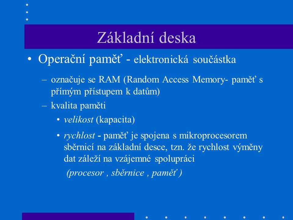 Základní deska Operační paměť - elektronická součástka