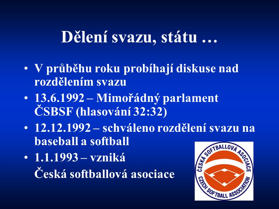 Dělení svazu, státu … V průběhu roku probíhají diskuse nad rozdělením svazu. 13.6.1992 – Mimořádný parlament ČSBSF (hlasování 32:32)