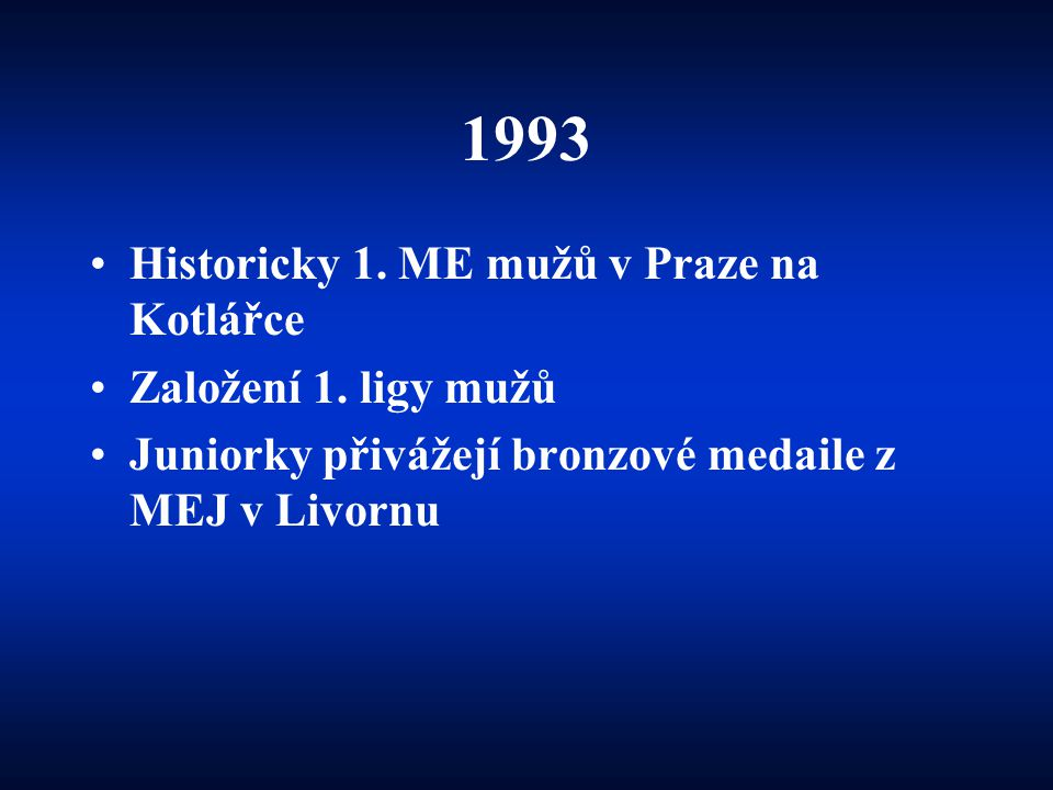 1993 Historicky 1. ME mužů v Praze na Kotlářce Založení 1. ligy mužů