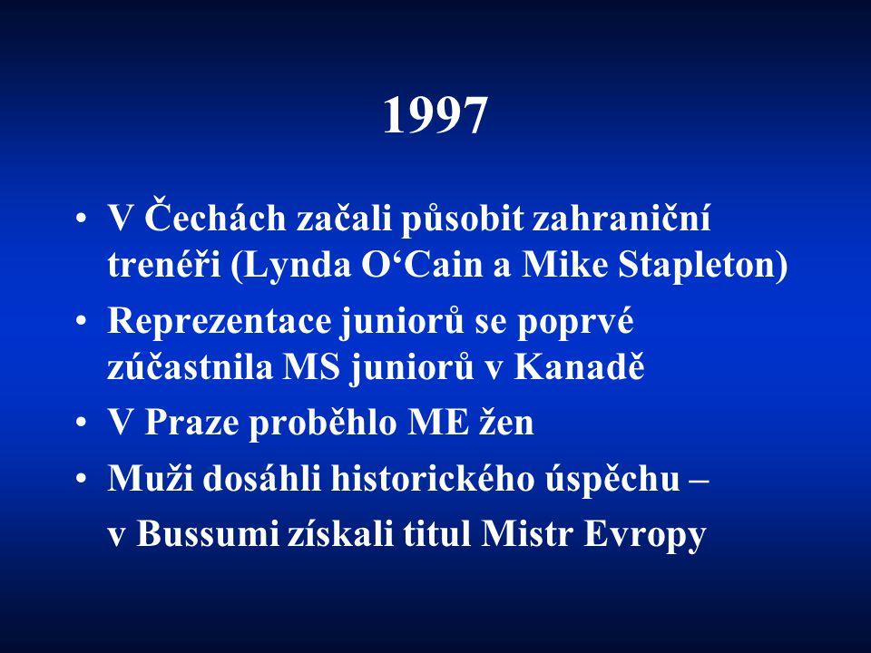 1997 V Čechách začali působit zahraniční trenéři (Lynda O'Cain a Mike Stapleton) Reprezentace juniorů se poprvé zúčastnila MS juniorů v Kanadě.