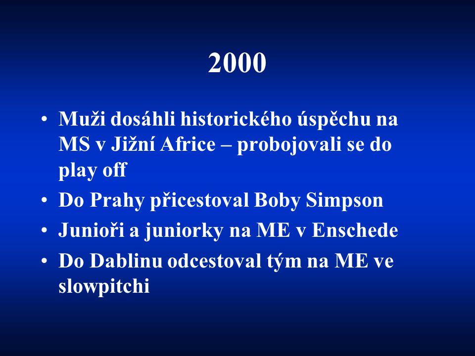 2000 Muži dosáhli historického úspěchu na MS v Jižní Africe – probojovali se do play off. Do Prahy přicestoval Boby Simpson.