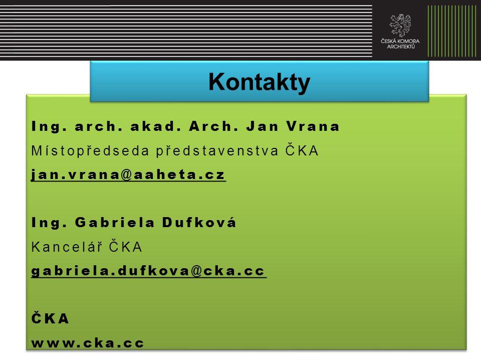 Kontakty Ing. arch. akad. Arch. Jan Vrana